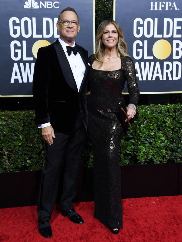 Aktor AS Tom Hanks dan isteri Rita Wilson. (AFP/Valerie Macon)