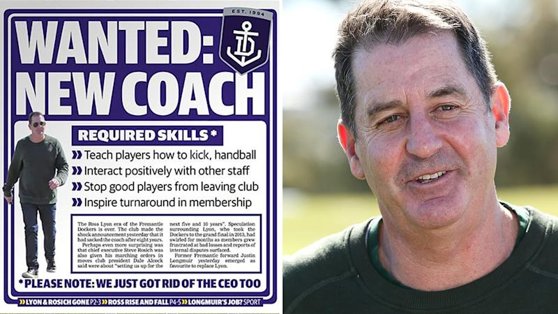 The West Australian newspaper's front page on Wednesday took aim at sacked Dockers coach Ross Lyon, pictured left.