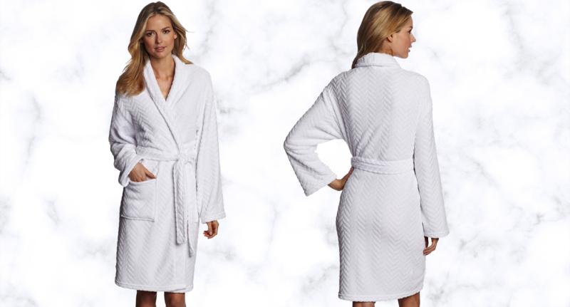 Hotel Spa Collection Herringbone Textured Plush Robe.