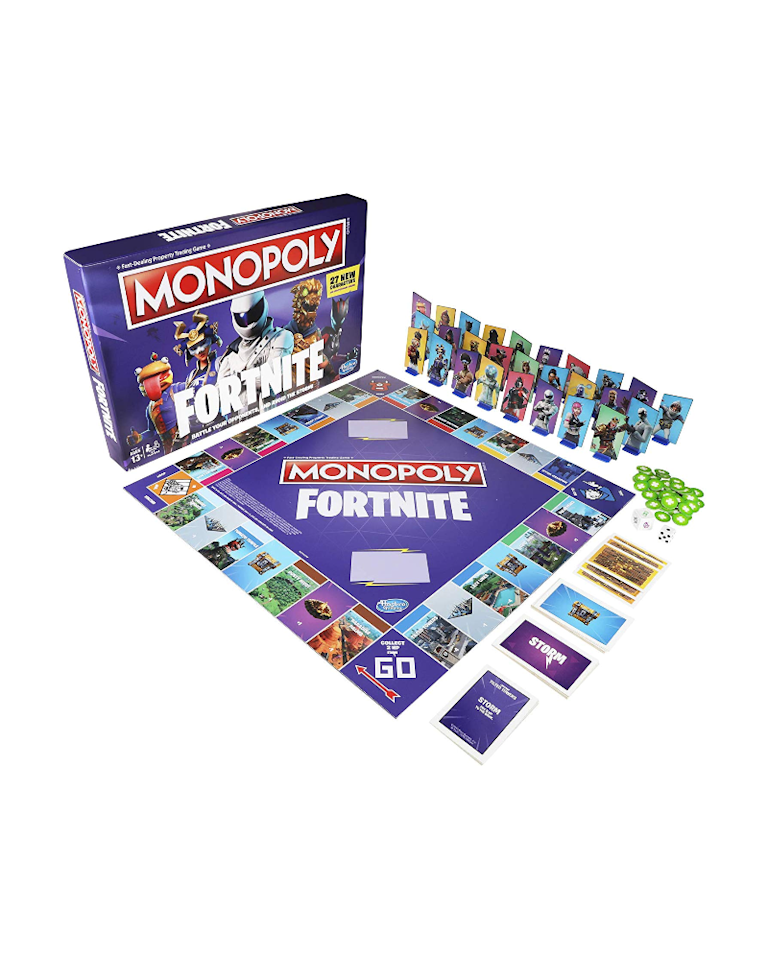 """<p><strong>Monopoly</strong></p><p>amazon.com</p><p><strong>$13.73</strong></p><p><a href=""""https://www.amazon.com/dp/B07NYTDBCR?tag=syn-yahoo-20&ascsubtag=%5Bartid%7C10057.g.23748374%5Bsrc%7Cyahoo-us"""" target=""""_blank"""">BUY NOW</a></p><p>You might just be able to pry them away from the computer to play a board game with this special Fortnite-themed Monopoly set.</p>"""