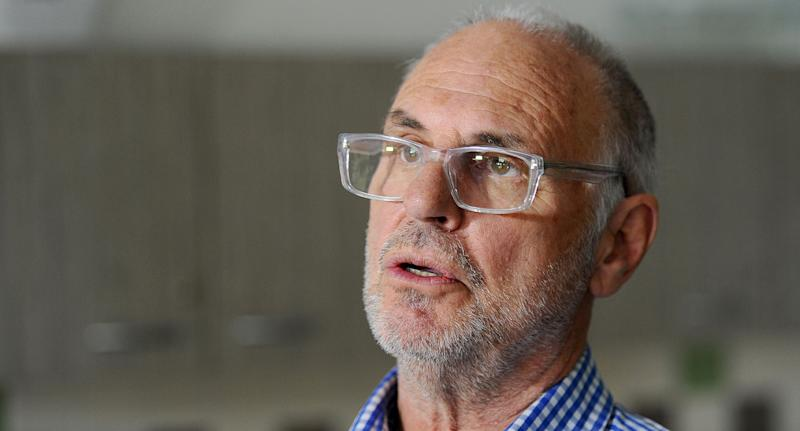Photo of Philip Nitschke from Exit International speaking with media in Melbourne in 2014.