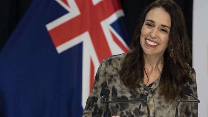 Prime Minister of New Zealand Jacinda Ardern speaks at a COVID-19 press conference.