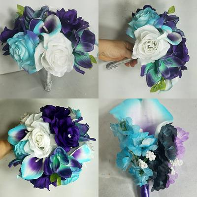 Purple Royal Blue Rose Bridal Wedding Bouquet /& Accessories
