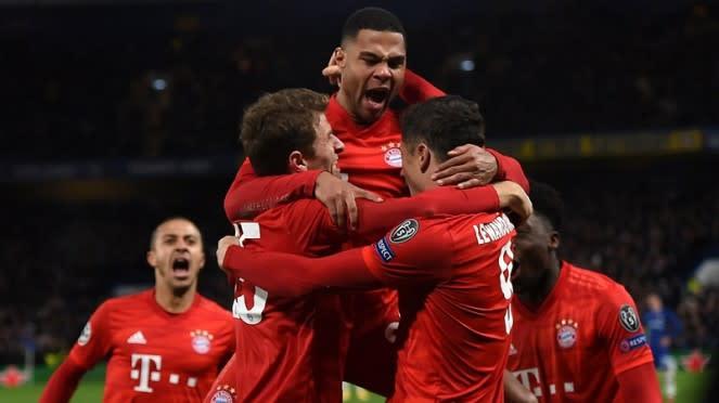 Pemain Bayern Munich merayakan gol ke gawang Chelsea.
