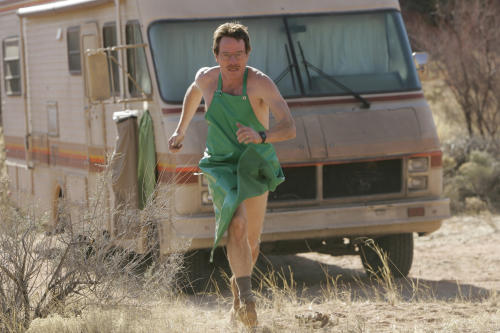 "FILE - In this undated file photo released by AMC, Bryan Cranston as Walter White runs for his life during a scene from the AMC drama series ""Breaking Bad"". The the saga of the fictitious Walter White, a timid-chemistry-teacher-turned-masterful-drug-lord, bears some similarities to recent reports of factory-like ""superlabs"" in Mexico that are turning out meth with large-scale efficiency. (AP Photo/Doug Hyun, AMC, FILE)"