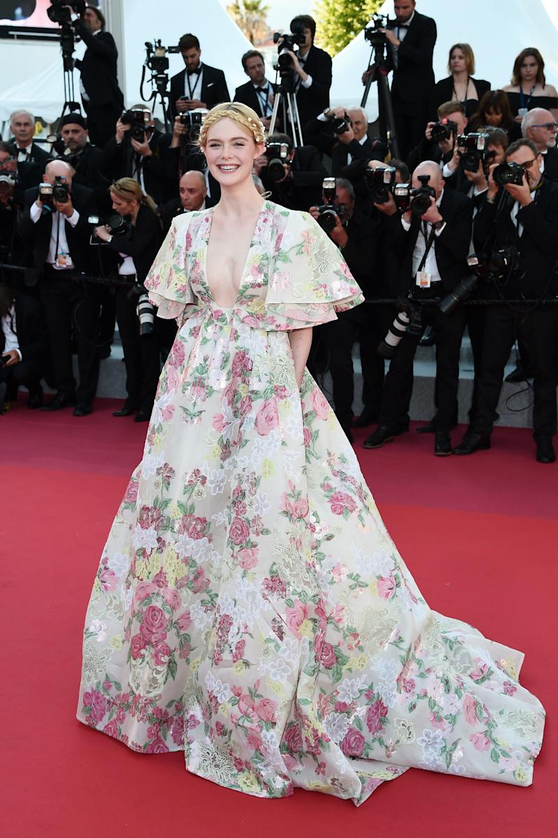 Elle Fanning in floral gown