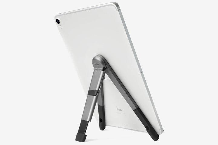 Picture shows a tablet on a Compass Pro stand in silver by Twelve South