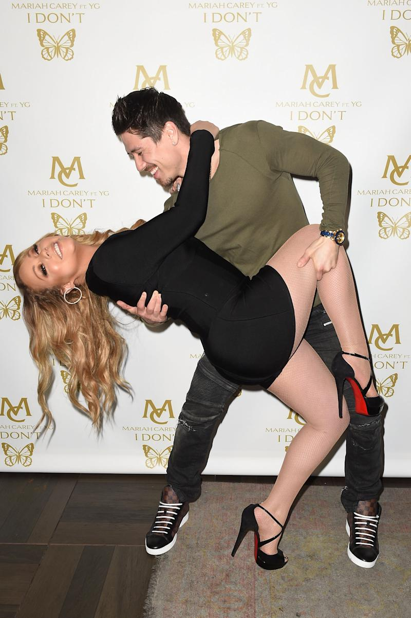 Mariah and Bryan don't hold back on the red carpet. Photo: Getty Images