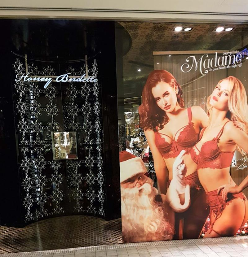The raunchy ads are on display at stores all around Australia. Photo: Caters News