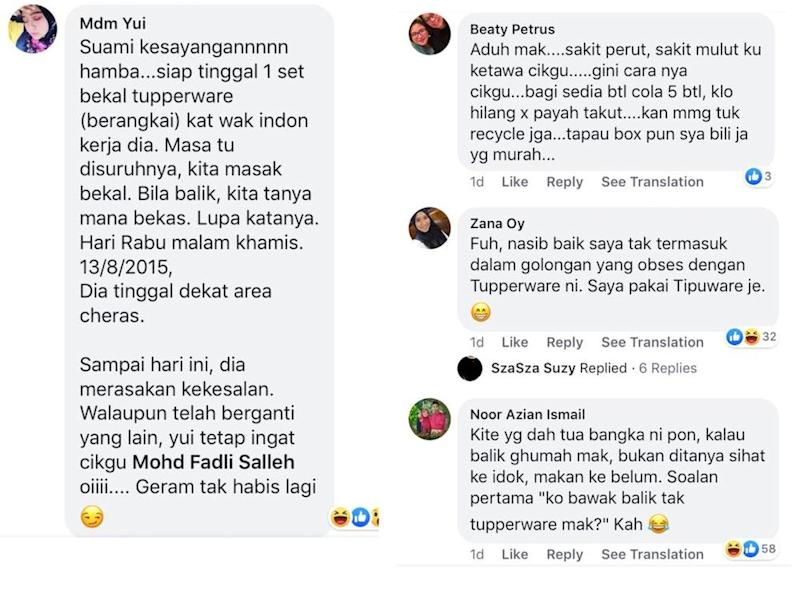 Social media users couldn't contain themselves after reading about Fadli's fear of his wife. — Screengrab via Facebook/Mohd Fadli Salleh.