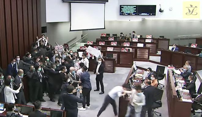 A screen grab from a widely circulated video of the May 8 House Committee meeting shows a portion of the alleged incident. Photo: Handout