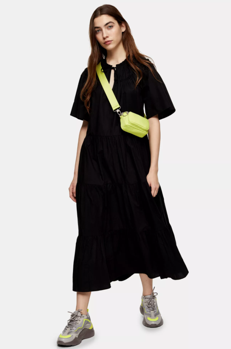 Black Poplin Smock Midi Dress. Image via Topshop.