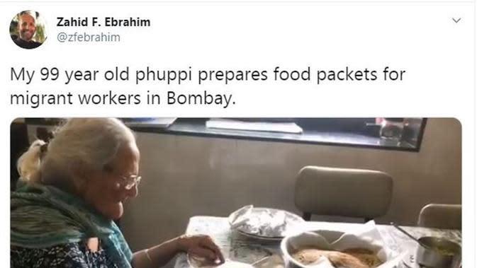 Nenek 99 Tahun Bagikan Makanan untuk Buruh Korban Corona. (dok.Twitter @zebrahim/https://twitter.com/zfebrahim/status/1266378510139969538/Henry)