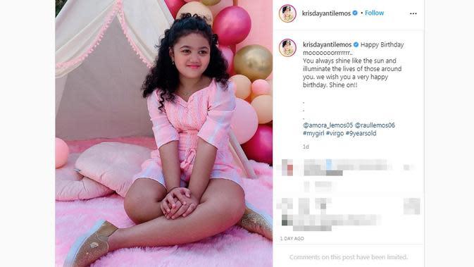 Putri Krisdayanti dan Raul Lemos, Amora, merayakan ulang tahun yang ke-9 pada 5 September 2020. (dok. Instagram @krisdayantilemos/https://www.instagram.com/p/CEvP8Pyg7Rg/?hl=en)