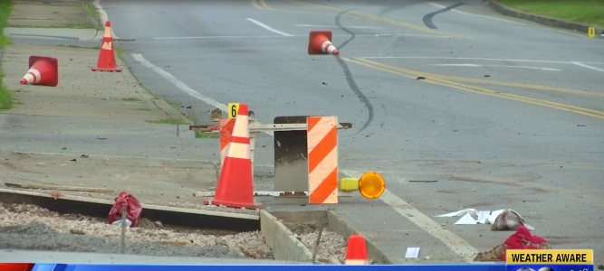 Knoxville crime scene where Johnson crashed his car. Source: WATE 6