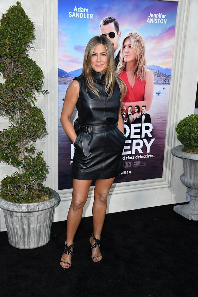 No stranger to the power of the little leather dress, Jennifer Aniston chose new era Céline for the Los Angeles premiere of Netflix flick 'Murder Mystery'. <em>[Photo: Getty]</em>