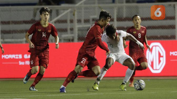 Timnas Indonesia U-22 kalah 1-2 dari Vietnam pada laga lanjutan Grup B SEA Games 2019 di Stadion Rizal Memorial, Manila, Minggu (1/12/2019). (Bola.com/Muhammad Iqbal Ichsan)
