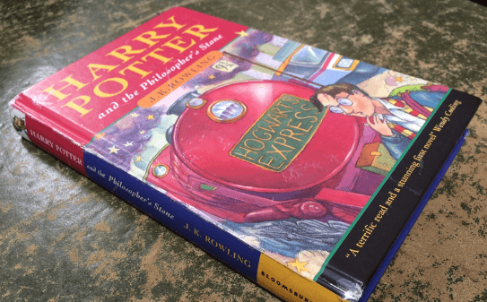 Pictured is the original Harry Potter book which was only one of 500 made.