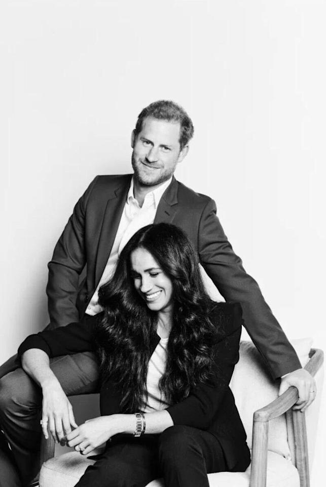 """<p>The Duke and Duchess of Sussex released a new portrait in advance of hosting a special episode of <em>Time100 Talks</em>. The couple <a href=""""https://www.townandcountrymag.com/society/tradition/a34125219/meghan-markle-prince-harry-time100-voting-quote/"""" target=""""_blank"""">previously appeared on the first-ever Time100 TV special.</a></p>"""