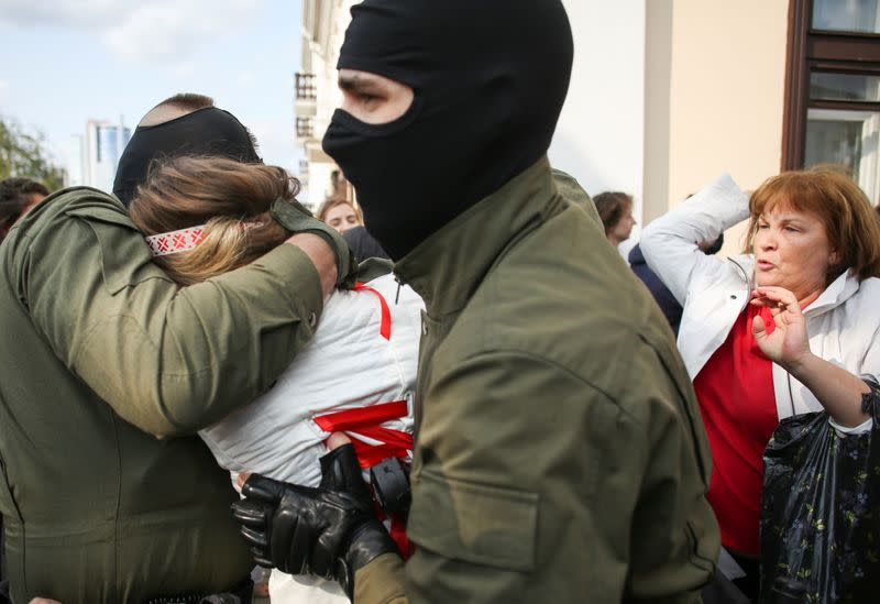 Belarus police detain dozens of protesters at anti-government rally