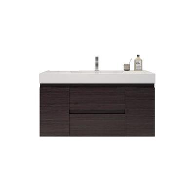 Bathroom Vanities Wholesale Fortune 48 In W Bath Vanity In Dark Gray Oak With Reinforced Acrylic Vanity Top In White With White Basin Yahoo Shopping