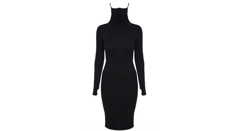 Black Jersey Long Sleeve Mask Midi Dress