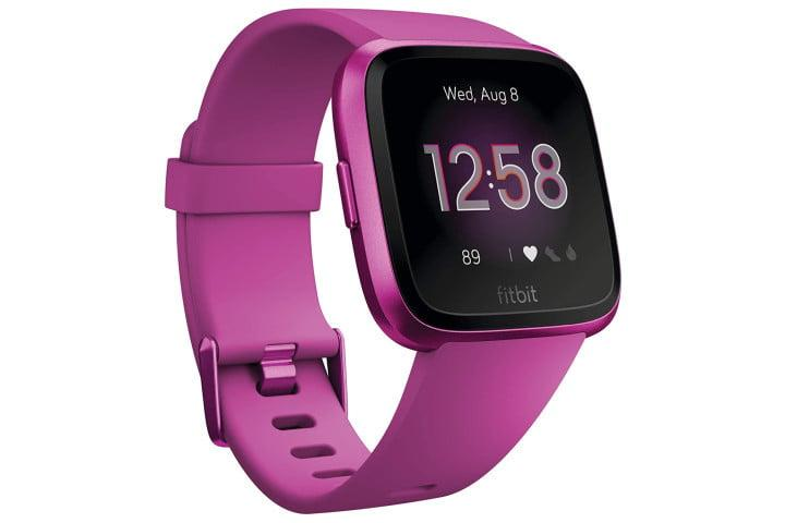 Picture shows a mulberry colored Fitbit Versa Lite smartwatch