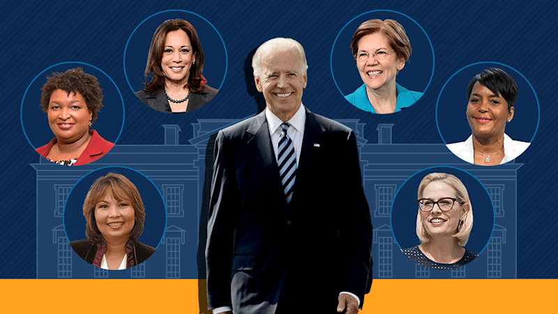 Graphic showing Joe Biden with various vice-president contenders