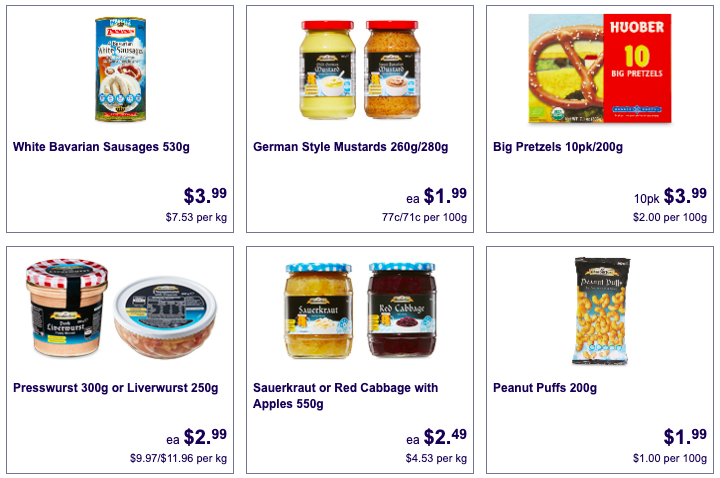 Various German foods and condiments selling as Aldi Special Buys.