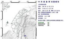 臺東近海2起規模5以上地震 最大震度3級