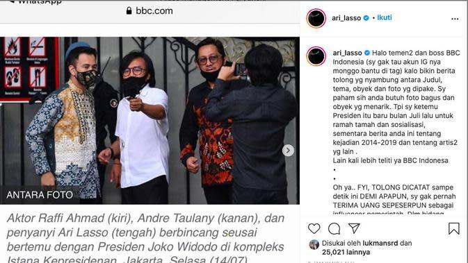 Ari Lasso Bantah Terima Uang dan Jadi Influencer Pemerintah. (instagram.com/ari_lasso)