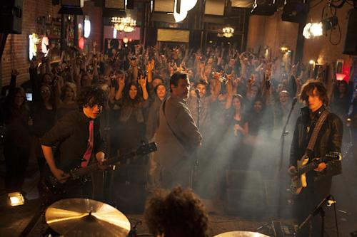 """This photo provided by courtesy of the Sundance Institute shows, from left, Ben Kweller, Billy Crudup, and Anton Yelchin, in a scene from the film, Rudderless,"""" directed by William H. Macy. The film premieres at the 2014 Sundance Film Festival. The festival runs Jan. 16 - 26, 2014, in Park City, Utah. (AP Photo/Sundance Institute, JR Cooke)"""