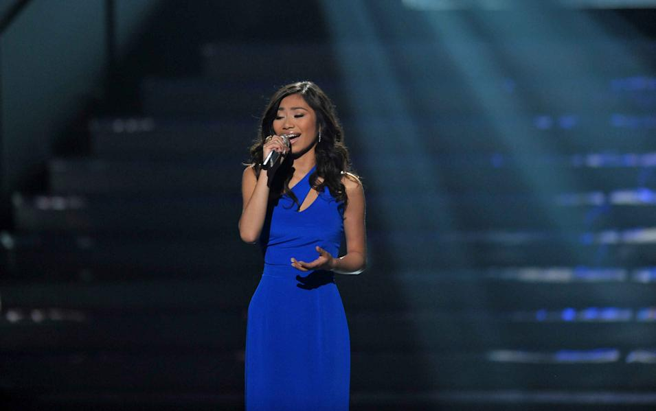 "Finalist Jessica Sanchez performs onstage at the ""American Idol"" finale on Wednesday, May 23, 2012 in Los Angeles. (Photo by John Shearer/Invision/AP)"