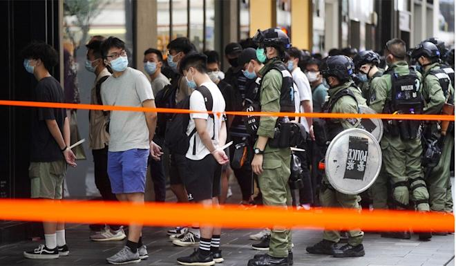 Police made the bulk of the arrests in Causeway Bay. Photo: Sam Tsang