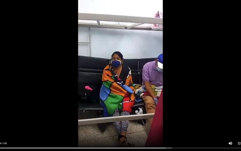 A screenshot from the video circulating on social media, apparently showing coronavirus patients crammed into a tiny room