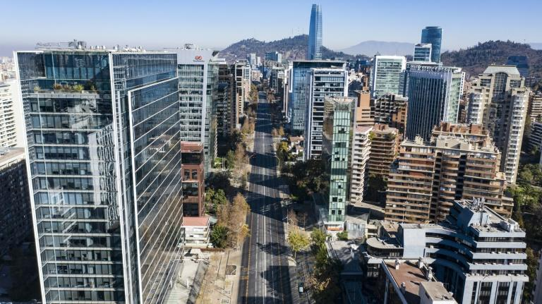 An empty road in Chile's capital Santiago, which has entered lockdown after a surge in new cases
