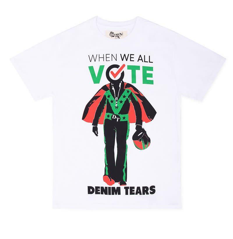 "<p><strong></strong></p><p>doverstreetmarket.com</p><p><strong>$60.00</strong></p><p><a href=""https://shop.doverstreetmarket.com/us/when-we-all-vote/denim-tears-x-dsm-for-wwav-t-shirt-white"" target=""_blank"">Shop Now</a></p>"