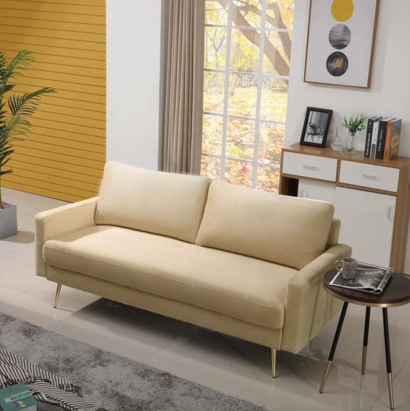 Monzon Velvet Square Arm Sofa in Ivory (Photo via Wayfair)