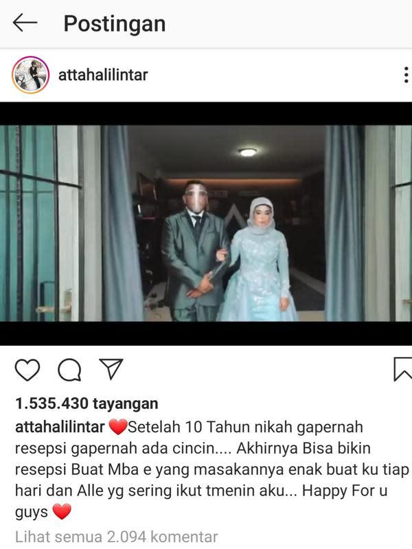 Unggahan Atta Halilintar. (Foto: Instagram @attahalilintar)