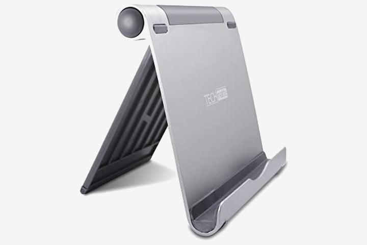 Photo shows a tablet stand from Techmatte in a brushed silver finish