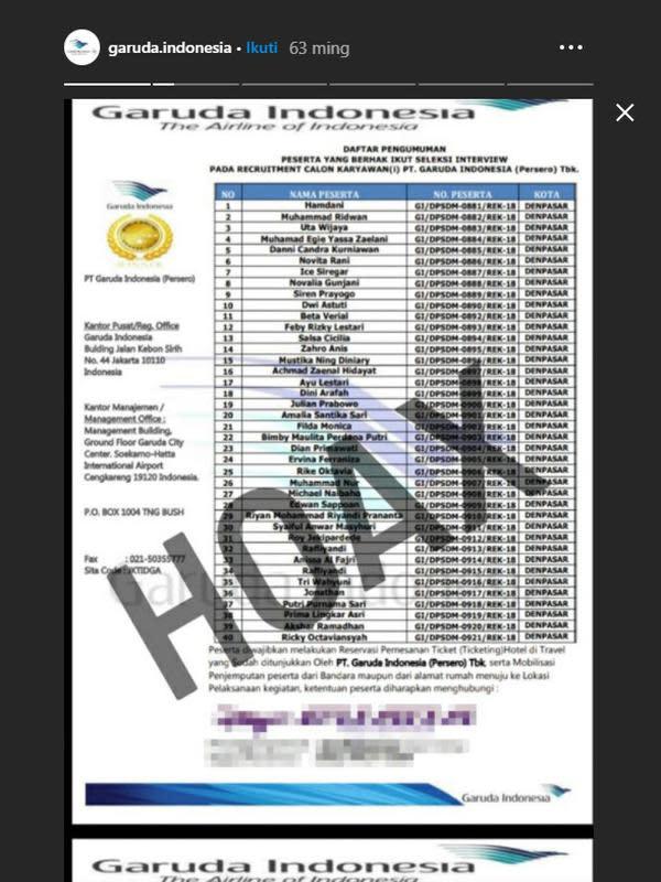 Tangkapan layar Instastory Garuda Indonesia.