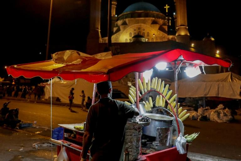 Street vendors have long set up shop on Beirut's seaside promenade, but the protests have drawn them to the central Martyrs' Square to sell to hungry demonstrators