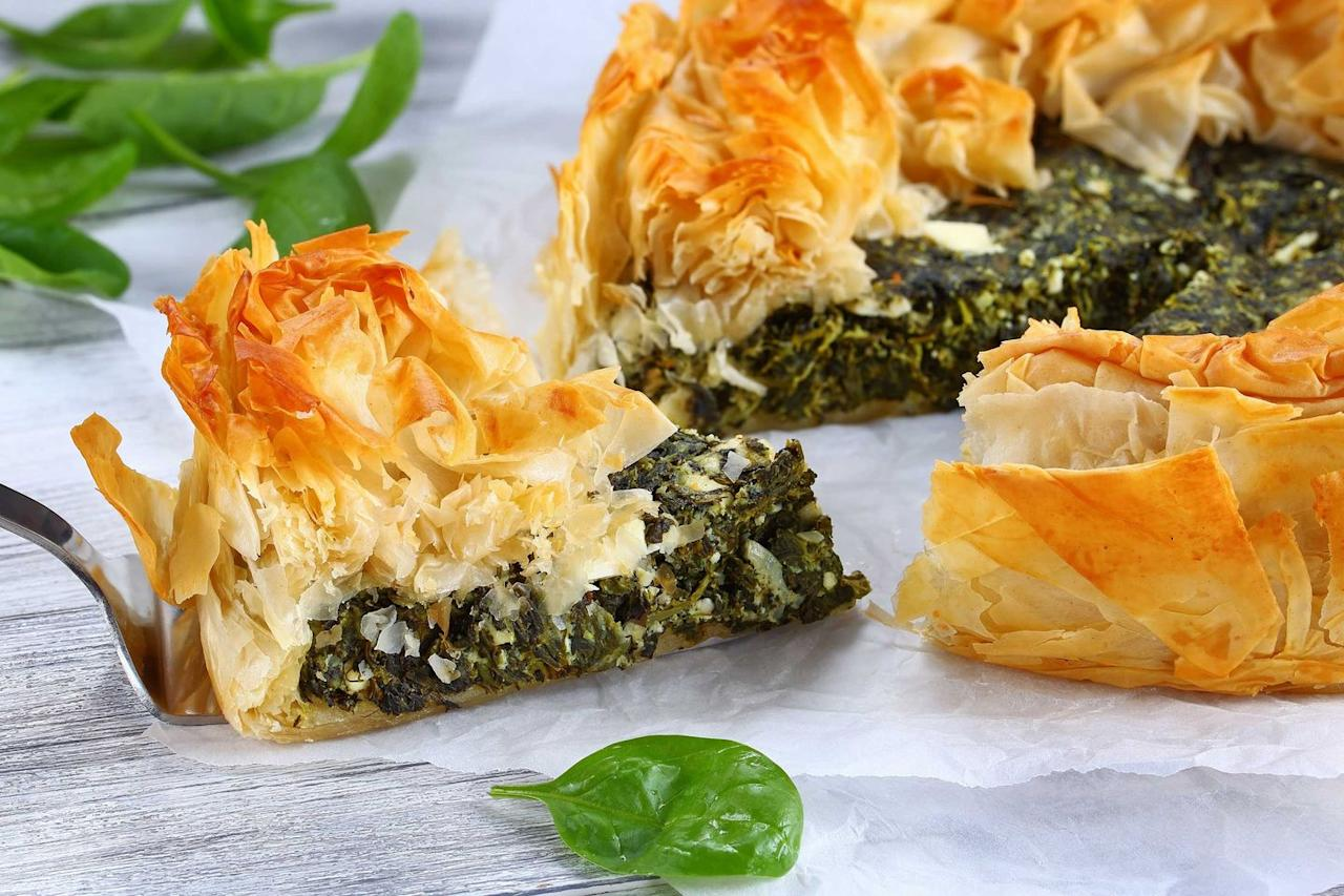 "<p>A bite of homemade spanakopita will instantly take you back to <a href=""https://www.countryliving.com/life/a32450726/summer-heat-predictions-2020/"" target=""_blank"">summers</a> in Greece. Meaning ""spinach pie,"" It's a Greek savory pastry filled with spinach and feta, wrapped in filo dough. They're often shaped in triangles and Greeks have been eating these desserts since ancient times.</p><p><strong>Get the recipe at <a href=""https://www.delish.com/cooking/recipe-ideas/a26471474/spanakopita-spinach-pie-recipe/"">Delish</a>.</strong></p>"