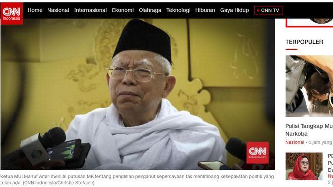 Tangkapan layar berita di CNN Indonesia.