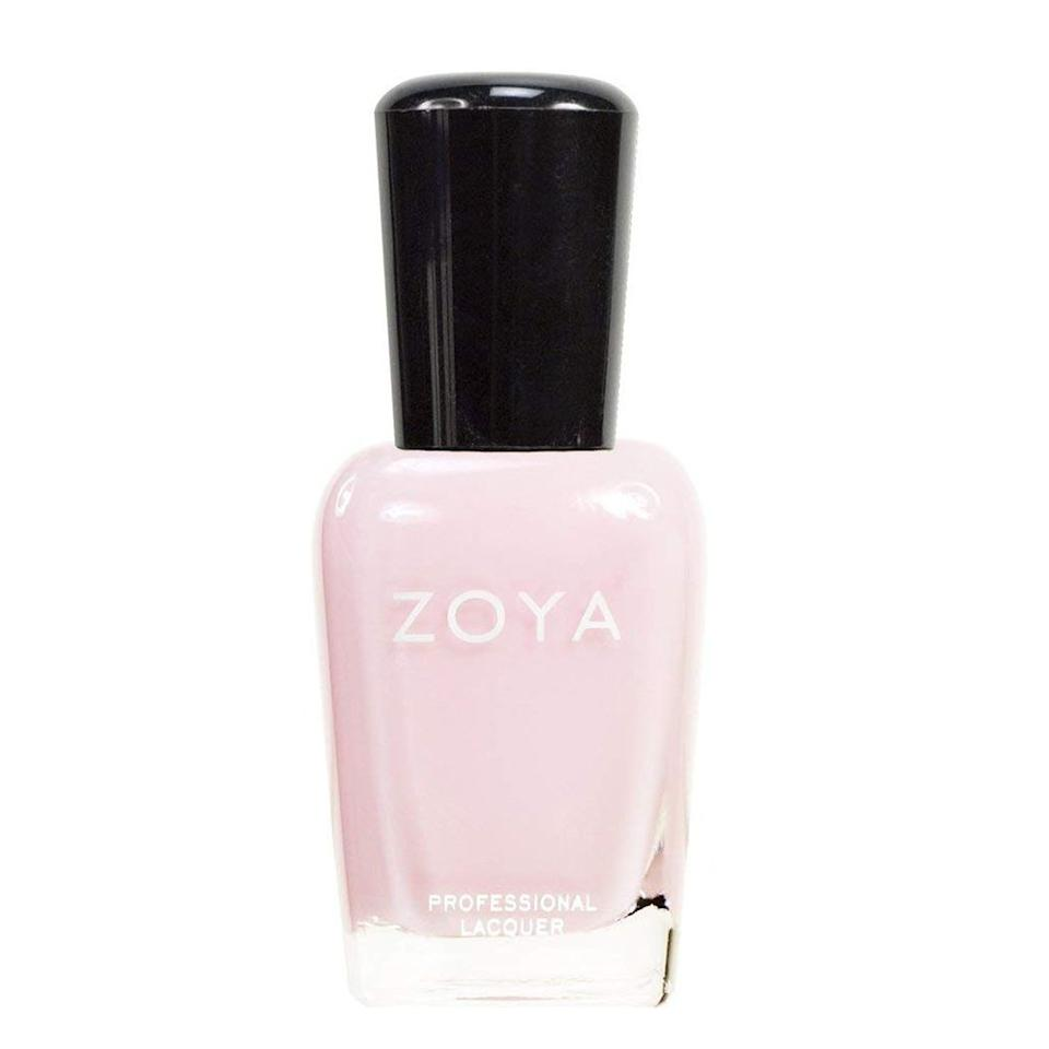 """<p><strong>ZOYA</strong></p><p>amazon.com</p><p><strong>$10.00</strong></p><p><a href=""""http://www.amazon.com/dp/B002YK53P6/?tag=syn-yahoo-20&ascsubtag=%5Bartid%7C2089.g.965%5Bsrc%7Cyahoo-us"""" target=""""_blank"""">Shop Now</a></p><p>We're thrilled to report that Zoya, one of our favorite nail polish suppliers, goes above the masses, producing 5-free polish by removing the big three, plus formaldehyde, resin, and camphor. Of course, light neutrals are necessary year-round, so this creamy pink pictured here (called Brenna) will fare well in any season. <br></p><p>Not your color? Zoya offers more than 300 different shades of healthy polish for your fingertips.</p>"""