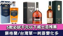 威士忌推薦|5款必試千元以下威士忌 蘇格蘭/台灣單一純麥變化多