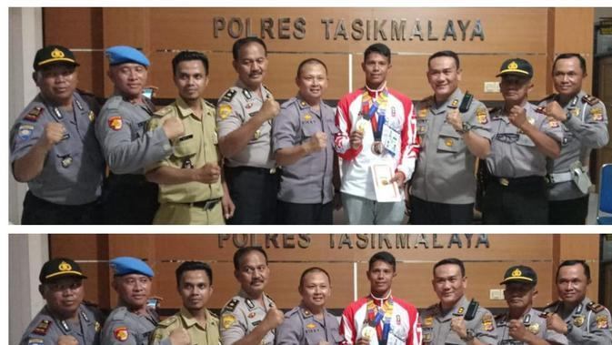 Polres Tasikmalaya menyambut atlet triathlon dan modern pentathlon Muhammad Taufik, yang meraih medali emas di SEA Games di Filipina. (Istimewa)