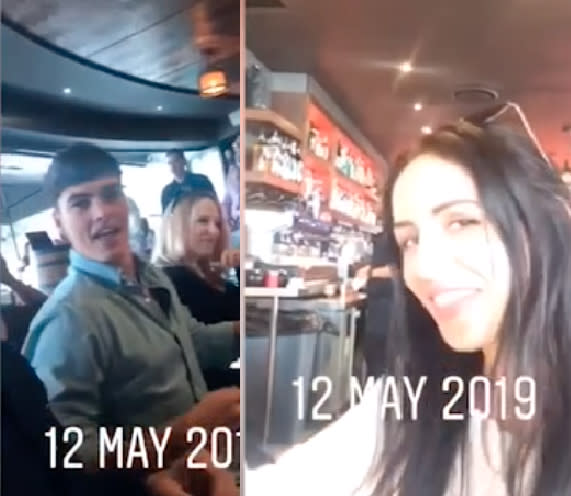 Adam Farrugia and Vanessa Sierra in iPhone footage from May 2019 at an unidentified event.