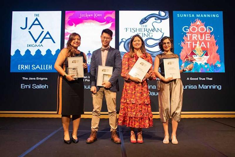 Joshua Kam (second left) with the other finalists of Singapore's Epigram Books Fiction Prize, (from left) Erni Salleh, Kathrina Mohs Daud and Sunisa Manning. — Photo via Facebook/ Epigram Books