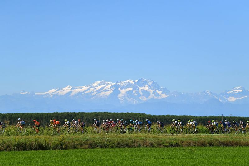 TURIN ITALY AUGUST 05 Landscape Peloton Torino rice fields Mountains during the 101st Milano Torino 2020 a 198km race from Mesero to Stupinigi Turin MilanoTorino on August 05 2020 in Stupinigi Turin Italy Photo by Tim de WaeleGetty Images